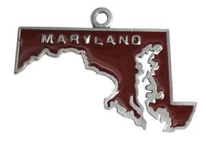 Custom Printed Maryland State Shaped Ornaments