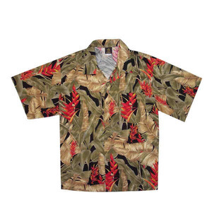 Custom Printed Mens Black and Tan Hawaii Hawaiian Camp Shirts