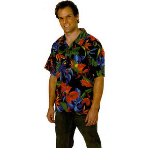 Custom Printed Mens Floral Tropicana Hawaiian Camp Shirts
