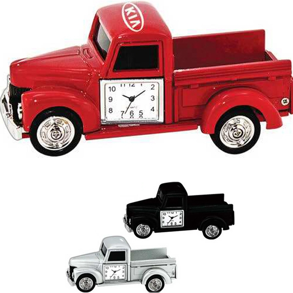 Custom Printed Pickup Truck Shaped Silver Metal Clocks