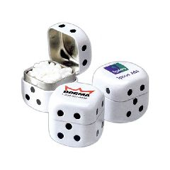 Custom Printed Candy Mint Filled Dice Shaped Tins