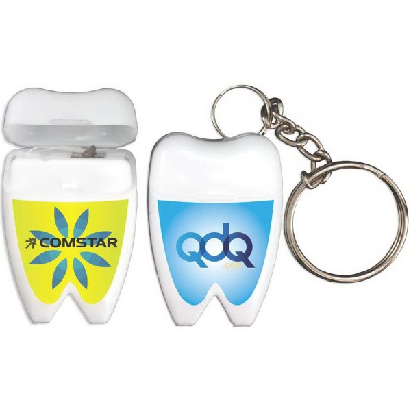 Mini Tooth Dental Floss Keychains, Personalized With Your Logo!