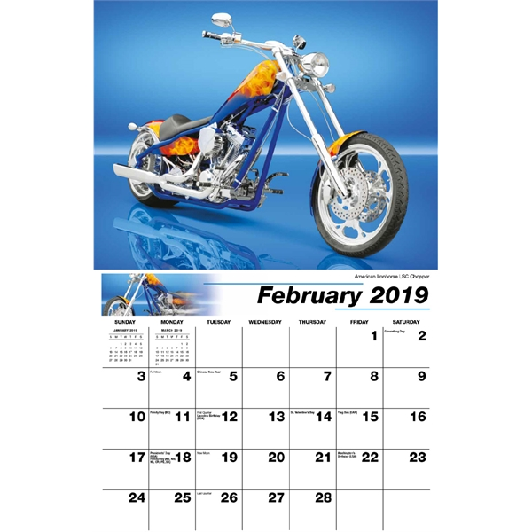 Motorcycle Mania Wall Calendars, Custom Printed With Your Logo!