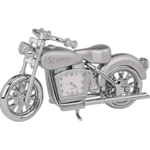 Custom Printed Motorcycle Shaped Silver Metal Clocks