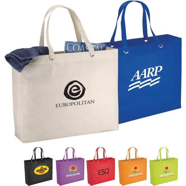 Custom Printed 1 Day Service Tote Bags with Double Shoulder Straps
