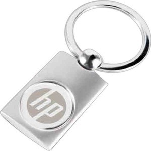 Custom Printed Oblong Two Tone Silver Key Tags