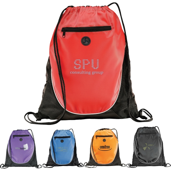 Custom Printed 1 Day Service Drawstring Backpacks with Leatherette Corners