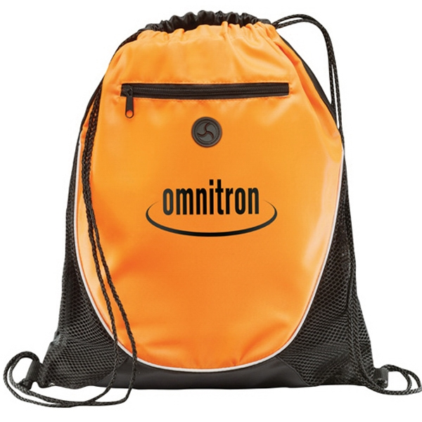 1 Day Service Drawstring Backpacks with Leatherette Corners, Custom Designed With Your Logo!