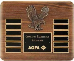 Custom Printed Genuine Walnut Perpetual Plaque With Eagle