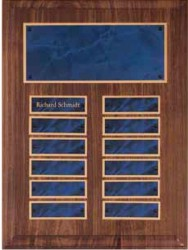 Custom Printed Walnut Perpetual Plaques With Sapphire Marble Plates