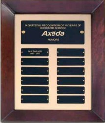 Custom Printed Cherry Finish Perpetual Plaque With Gold Back