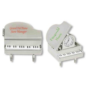 Custom Printed Piano Shaped Silver Metal Clocks