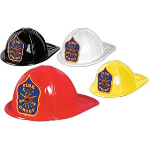 Custom Printed Plastic Fire Chief Hats
