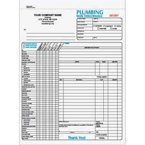 Custom Printed Plumbing Three Part Work Order / Invoice Forms