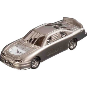 Custom Printed Race Car Shaped Silver Metal Clocks