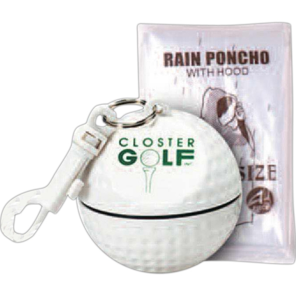 Custom Printed 3 Day Service Golf Ball Shaped Waterproof Containers with Ponchos