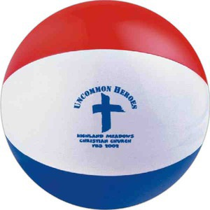 Custom Printed Red White and Blue Alternating Color Beach Balls