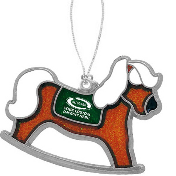 Custom Printed Rocking Horse Christmas Ornaments