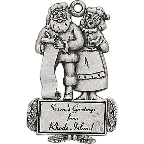 Custom Printed Mr. and Mrs. Clause Christmas Ornaments