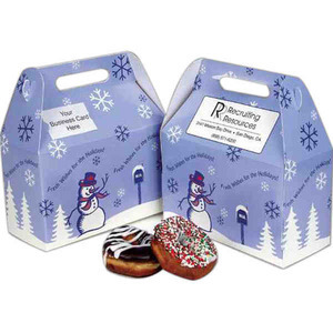 Custom Printed Seasons Greetings Design Donut Boxes