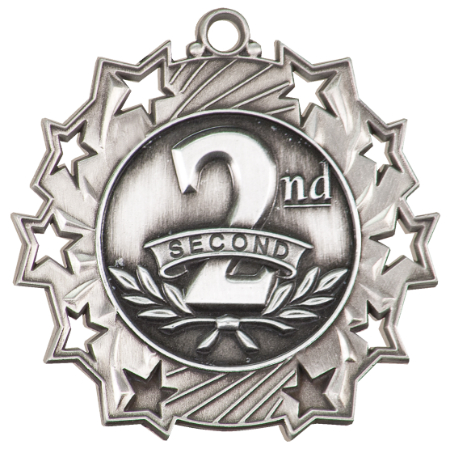 Custom Printed Second Place Ten Star Medals