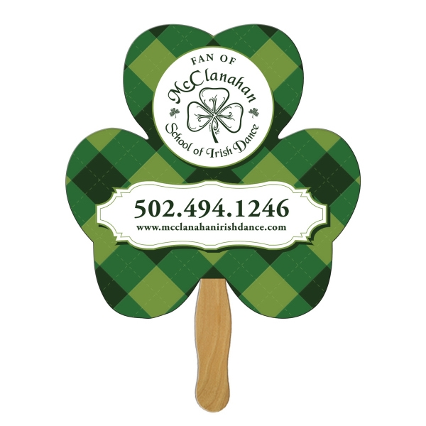 Custom Printed Shamrock Stock Shaped Paper Fans