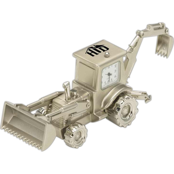 Custom Printed Backhoe Shaped Silver Metal Clocks