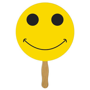Custom Printed Smiley Face Stock Shaped Paper Fans