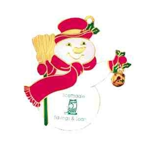 Custom Printed Snowman Gold and Enamled Christmas Ornaments