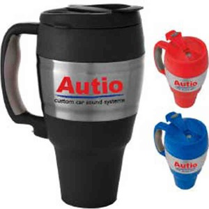 Custom Printed Stainless Steel Keg Shaped Travel Mugs with Screw on Lids