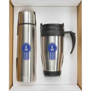 Custom Printed Stainless Steel Trip Mug and Thermos Sets