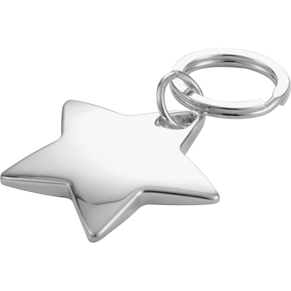Custom Printed 1 Day Service Star Shaped Chrome Plated Nickel Key Rings