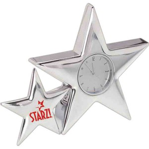 Custom Printed Star Shaped Silver Metal Clocks