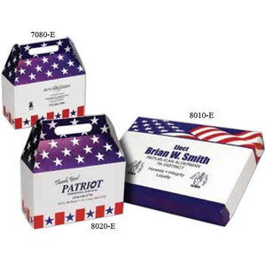 Custom Printed Stars and Stripes Patriotic Gable Style Donut Boxes