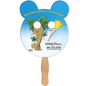 Custom Printed Panda Bear Stock Shaped Paper Fans