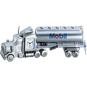 Custom Printed Tanker Truck Shaped Silver Metal Clocks