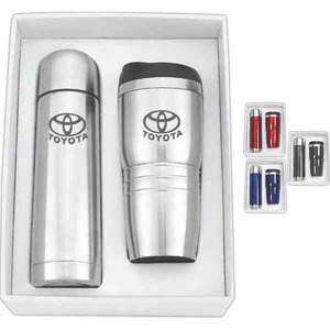 Custom Printed Thermos and Travel Mug Tumbler Combination Sets