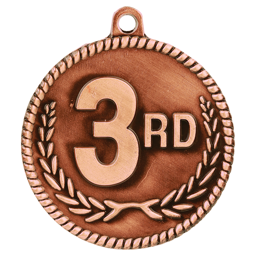 Custom Printed Third Place High Relief Medals