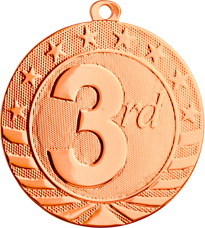 Custom Printed Third Place Starbrite Medals