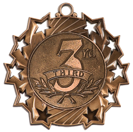 Custom Printed Third Place Ten Star Medals