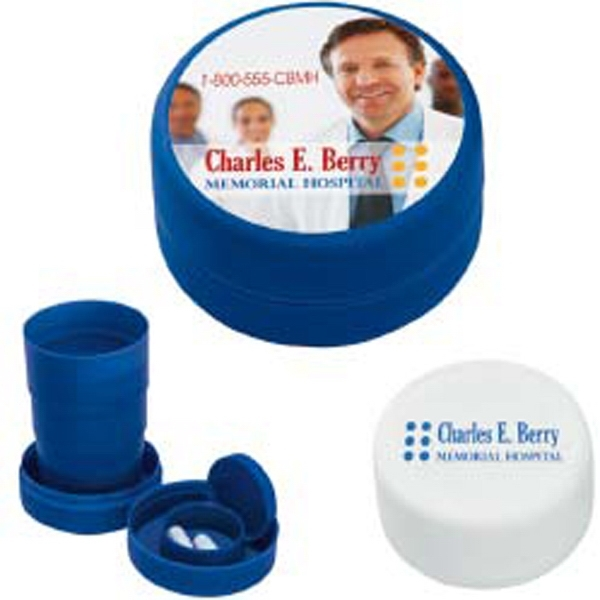 3 Day Service Collapsible Cups with Pill Holders, Customized With Your Logo!