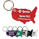 Custom Imprinted United States Shaped Key Tags