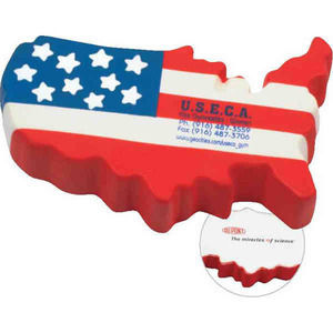 Custom Imprinted United States Shaped Stress Relievers
