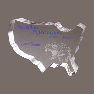 Custom Printed USA Shaped Paperweight Crystal Gifts