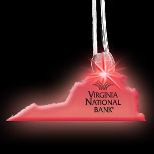 Custom Printed Virginia State Shaped Lighted Necklaces