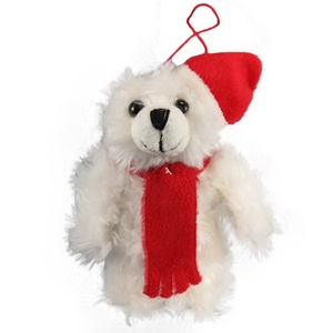 Custom Imprinted White Bear Plush Ornaments