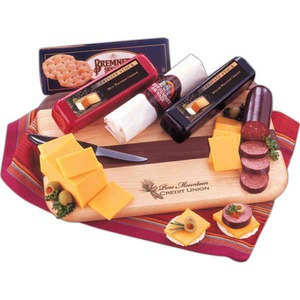 Custom Printed Wisconsin Flavor Themed Perishable Cheese and Sausage Food Gifts