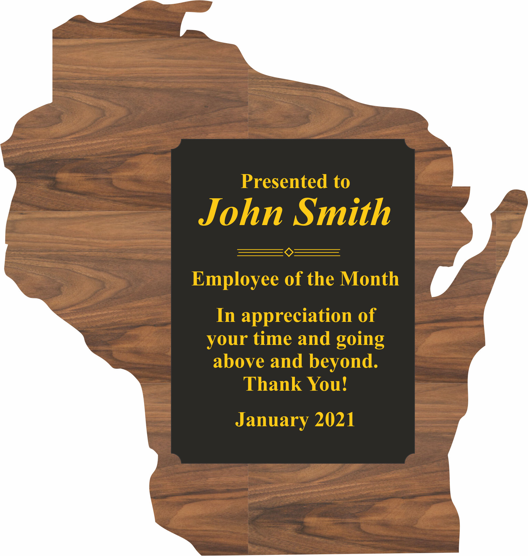 Custom Printed Wisconsin State Shaped Plaques