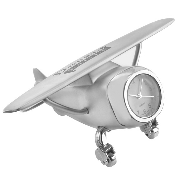 Custom Printed Airplane Shaped Silver Metal Clocks
