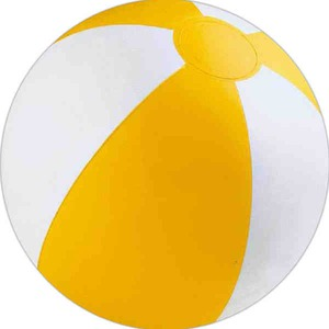 Yellow and White Alternating Color Beach Balls, Custom Imprinted With Your Logo!